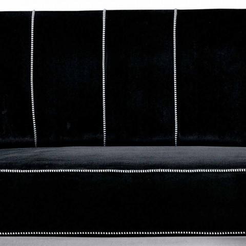 3 -sits soffa klädd i sammet med vita sömmar tillverkade i Italien - Caster