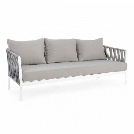 Homemotion - Rubio 3 Seater Design Utesoffa i vitt och grått