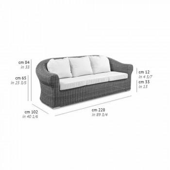 3-sits utomhussoffa i syntetisk rotting och vitt eller ecru-tyg - Yves
