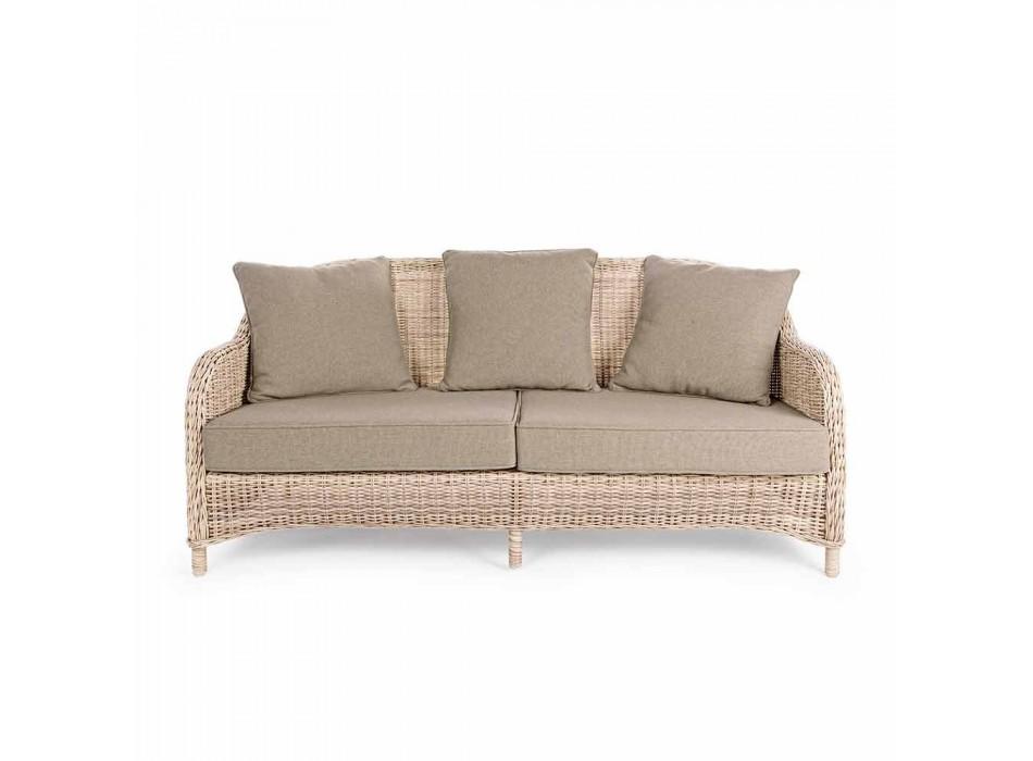 3-sits trädgårdsofa i flätad fiberdesign Homemotion - Casimiro
