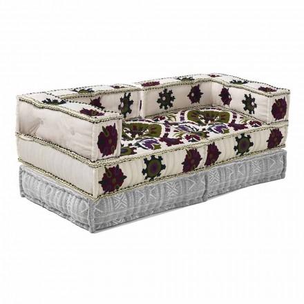 Två-sits soffa i etnisk design i lapptyg - fiber