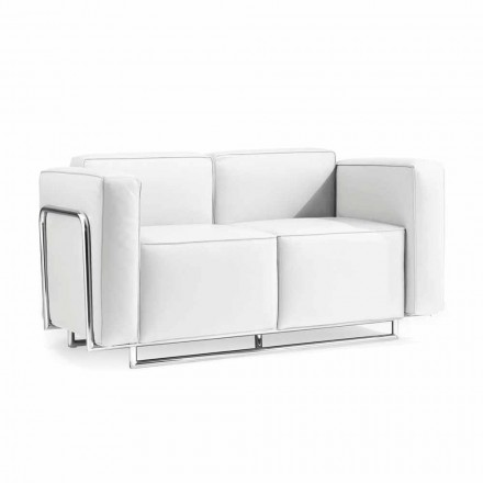 Soffa med två moderna platser i vitt konstläder och krom delar Bugle
