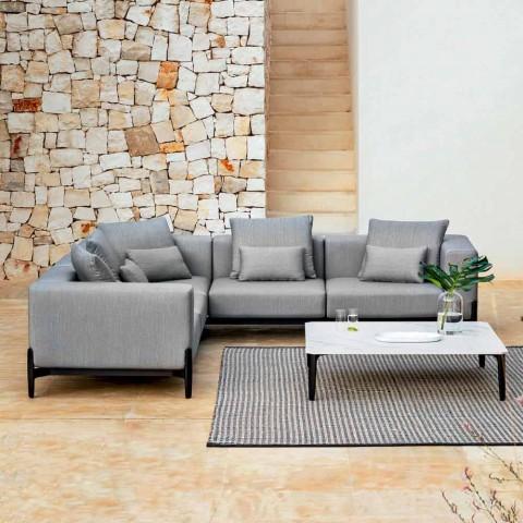 5-sits utomhushörnsoffa i aluminiumdesign i 3 ytor - Filomena
