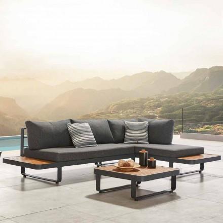 Hörnsoffa utomhus med designteak och soffbord i aluminium - Cender