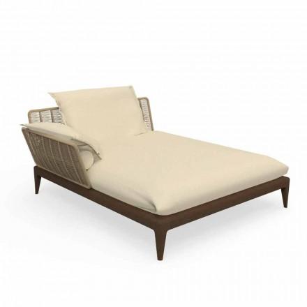 Utomhus schäslong soffa i teak och tyg - kryssningsteak av Talenti