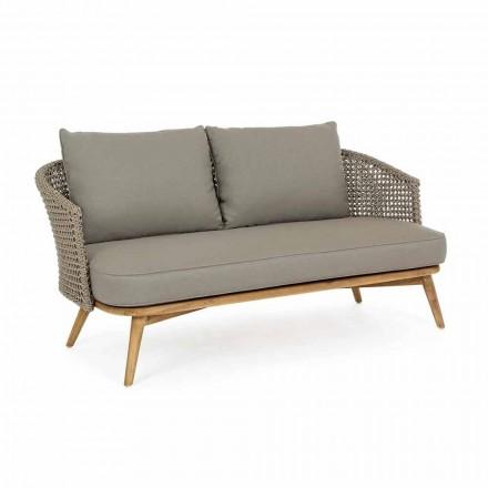 Utesoffa 2 eller 3 sittplatser i trä och duvgrå homemotion-tyg - Luana