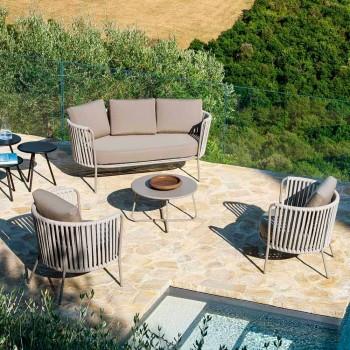 2-sits utesoffa i metall, tyg och rep Tillverkad i Italien - Mari
