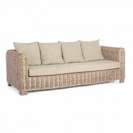 Homemotion - Ceara 3-sits design utomhus soffa i trä och rotting