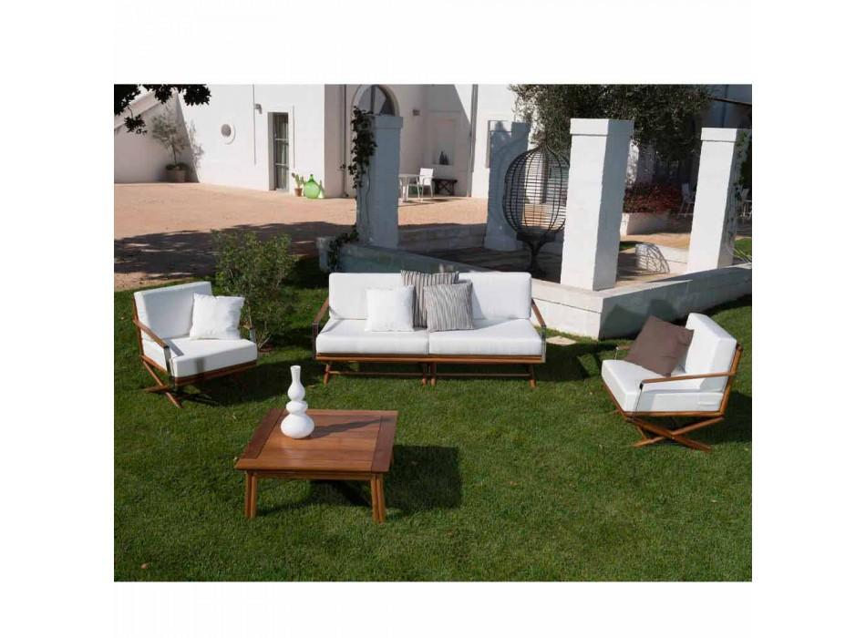 3-sitssoffa i naturligt trä eller svart och lyxigt tyg - Suzana