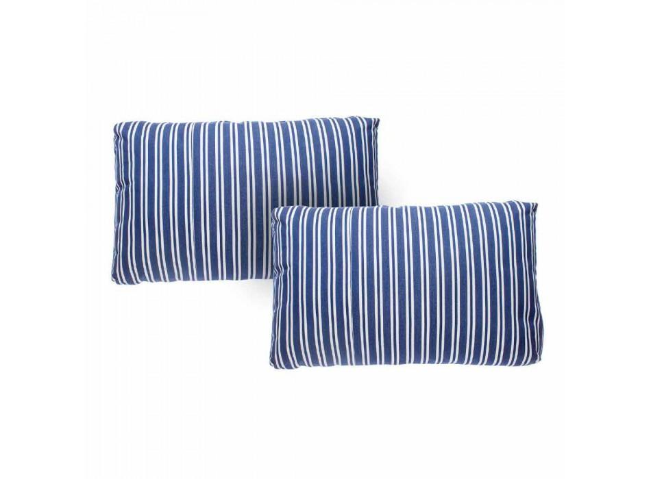 2-sits trädgårdssoffa i vita eller svarta kuddar av aluminium och blått - Cynthia