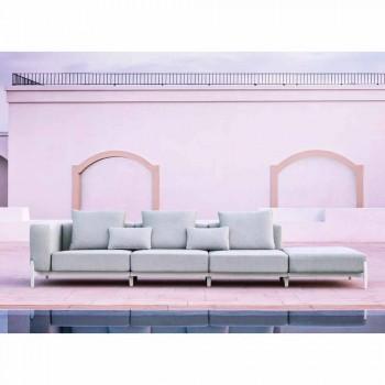 Tresits trädgårdssoffa med förlängning, design i aluminium och tyg - Filomena