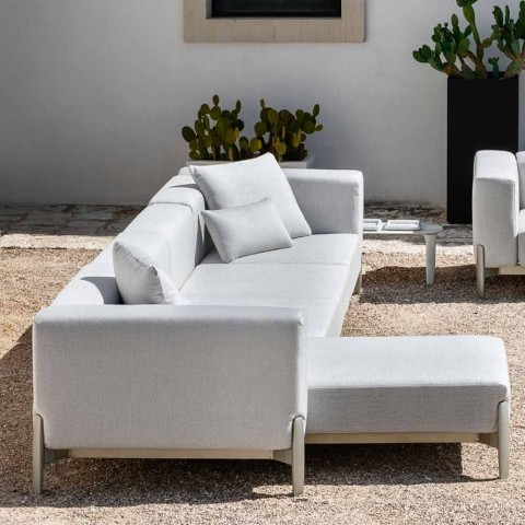 3-sits trädgårdssoffa med schäslong i aluminium och tyg - Filomena
