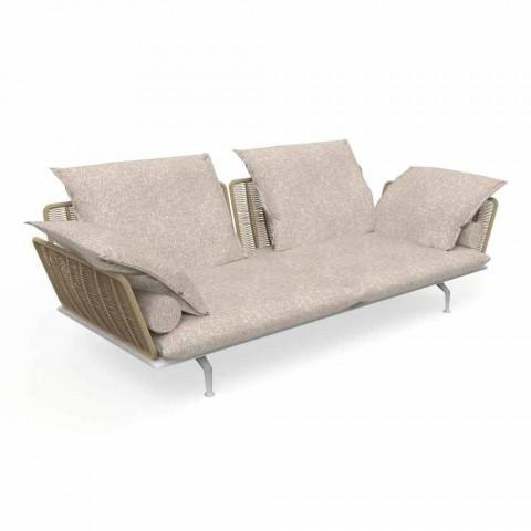 3-sits trädgårdssoffa i vadderat tyg och aluminium - Kryssning Alu Talenti