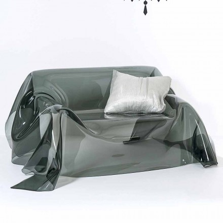 Soffa med modern design i Jolly rökt plexiglas, tillverkad i Italien