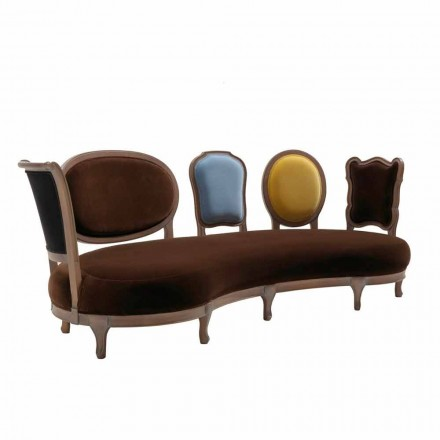 Soffa lyx design, 5 Massivt trä ryggar, tillverkade i Italien, Manno
