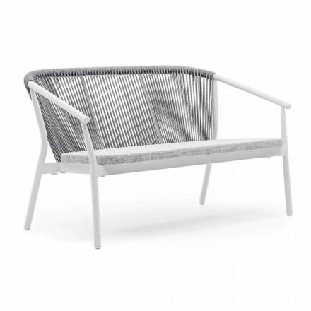 Tvåsits trädgårdsstapelsoffa aluminium och tyg - Smart av Varaschin