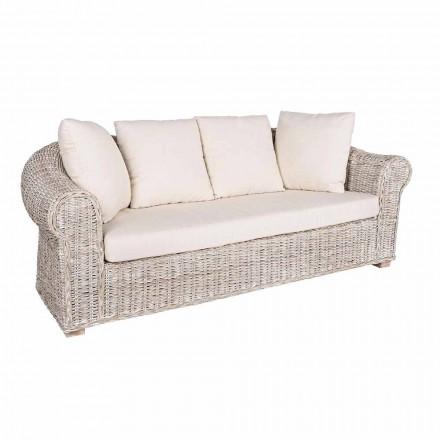 Soffa för inomhus eller inomhus 3 sittplatser i Rattan Homemotion - Francioso