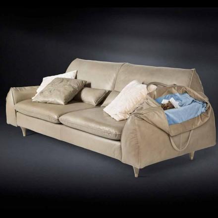 Massivt trä och läder soffa med armstöd Eve för objekt