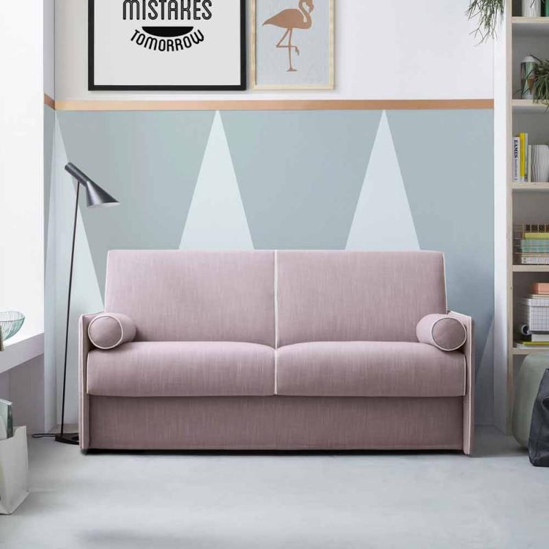 Bäddsoffa i blekt rosa tyg med vit kant tillverkad i Italien - Vallmo