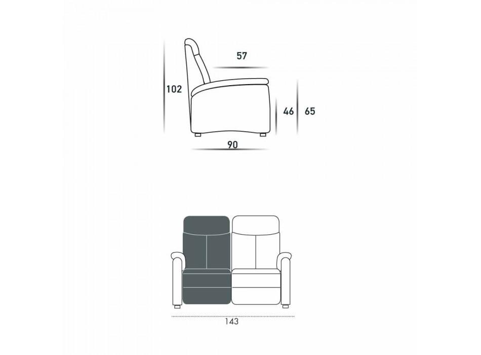 2-sits motoriserad soffa med 1 elsits Gelso, modern design