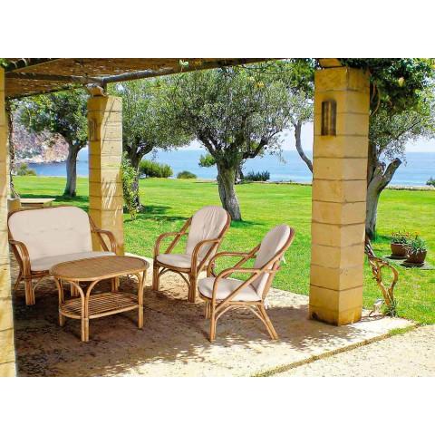 2-sits utesoffa för trädgård i vita kuddar i Rotting - Maurizia