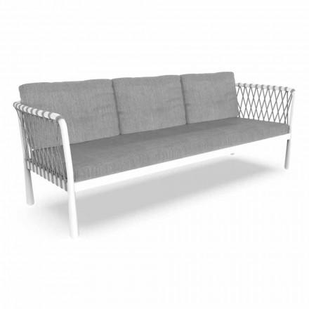 Tre-sits modern trädgårdsoffa i aluminium och tyg - Sofy av Talenti
