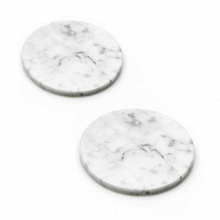Två underlägg i vit och grå marmor med kork tillverkad i Italien - Jessa