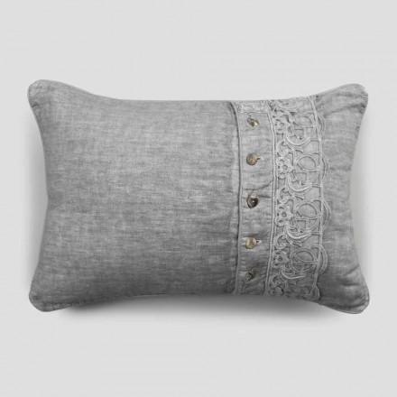 Sängkuddar örngott i grått linne med italiensk lyxig synergispets - Stego