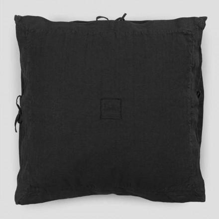 Fyrkantigt örngott i kraftigt svart linne och spetsar tillverkat i Italien - Matero