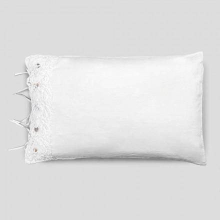 Linne örngott med vit spets för lyxig design säng tillverkad i Italien - Kiss