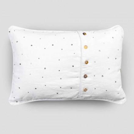 Örngott med vitt linne med rektangulära designkristaller - Cenerella