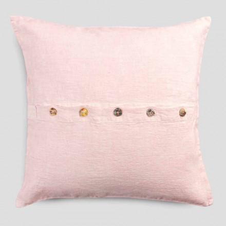 Fyrkantigt örngott i färgat linne med Agoya-knappar i pärlemor - Medelhavet