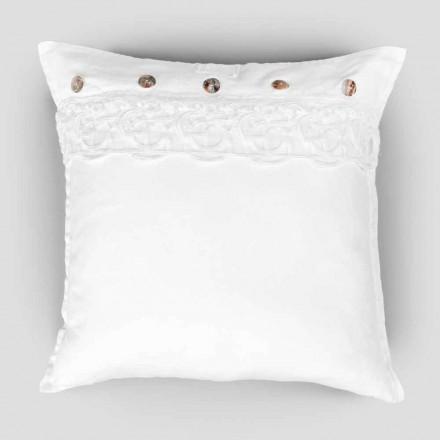 Fyrkantigt örngott med linne med spetssynergi av dekoration och knappar - Assiolo