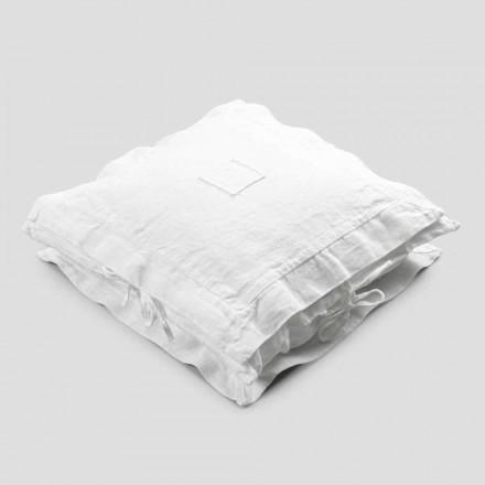 Fyrkantigt örngott i kraftigt vitt linne och spetsar tillverkat i Italien - Matero