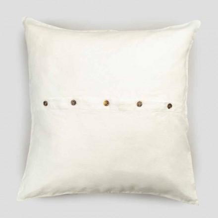 Fyrkantigt örngott i kraftigt färgat linne med knappar i Agoya - Medelhavet