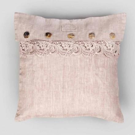 Fyrkantigt örngott i dammigt linne eller rygg med knappar och spetsar Armonia - Logotyper
