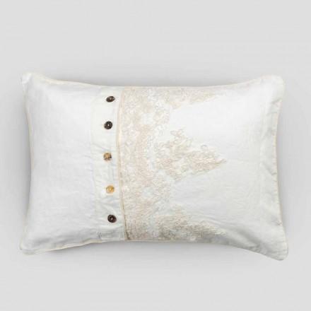 Rektangulärt örngott med elegant spets i vit linnedesign för säng - Gioiano