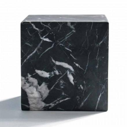 Modern Cube Paperweight i Satin Black Marquinia Marble Tillverkad i Italien - Qubino