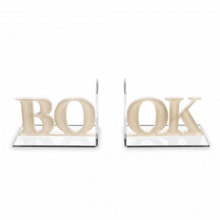 Design bokstöd i beige eller vit plexiglas skriven bok - Febook