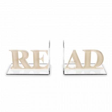 Bokstöd i läsdesign i beige eller vit plexiglas - Feread