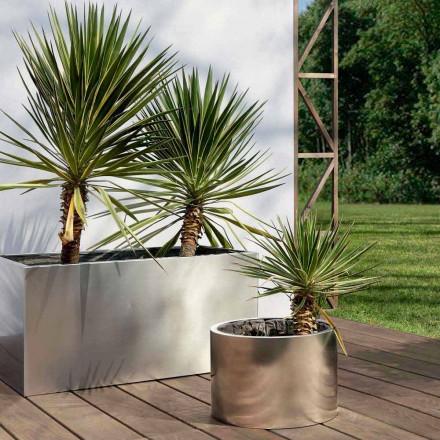 Rund eller rektangulär trädgårdsplanter i stål tillverkad i Italien - Philly