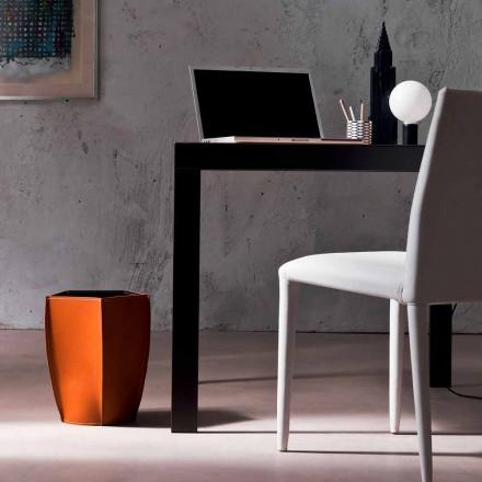 Design papperskorg i regenererat Poligiono läder, tillverkat i Italien