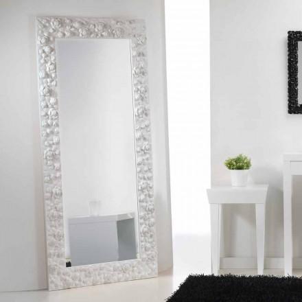 Stora vita spegel golv / vägg med träram Blomma