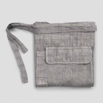 Köksförkläde i antracitgrå linne låg modell med ficka - Flick