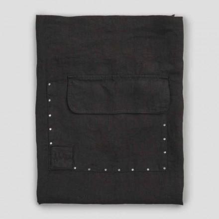Svart linne köksförkläde med kristaller låg modell med ficka - klick