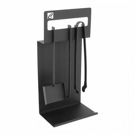 Uppsättning av designverktyg för öppen spis i svart stål Tillverkad i Italien - Ostro