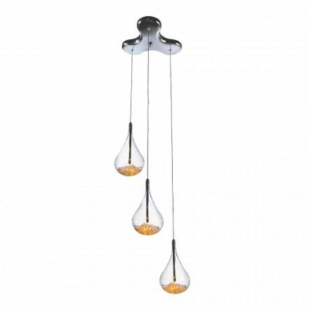 Hänglampa med 3 eller 4 lampor i borosilikatglas och metall - päron