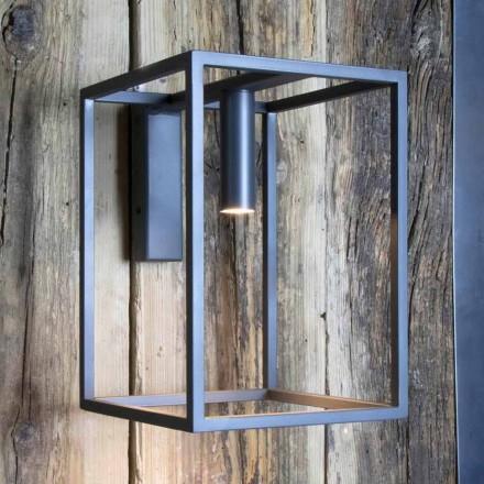 Utomhus vägglampa i järn och aluminium med LED Made in Italy - Cubola