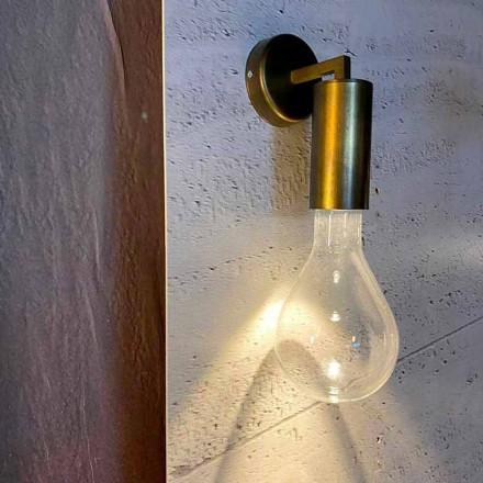 Handgjord vägglampa i aluminium och glas tillverkad i Italien - Ravenna