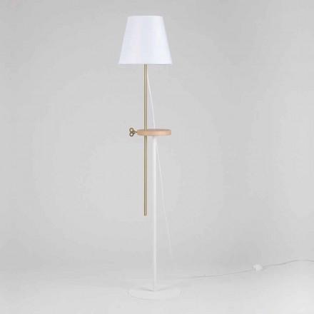 Design golvlampa i stål, ask och mässing tillverkad i Italien - Pitulla